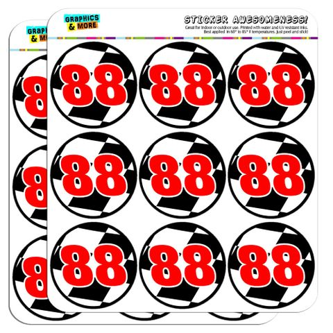 """Number 88 Checkered Flag Racing 2"""" Scrapbooking Crafting Stickers"""