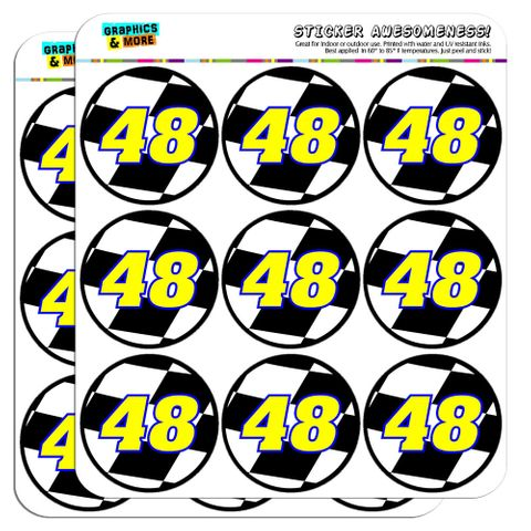 """Number 48 Checkered Flag Racing 2"""" Scrapbooking Crafting Stickers"""