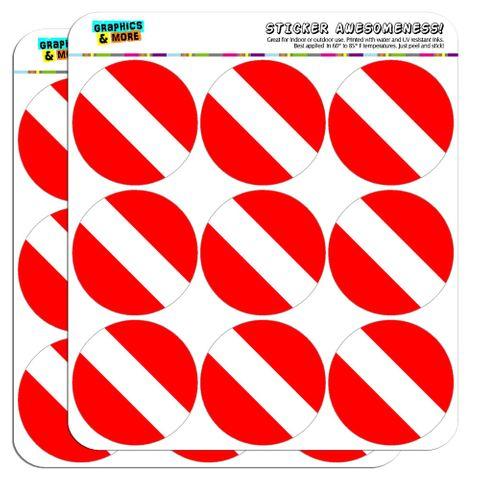 "Scuba Diver Flag Diving 2"" Scrapbooking Crafting Stickers"
