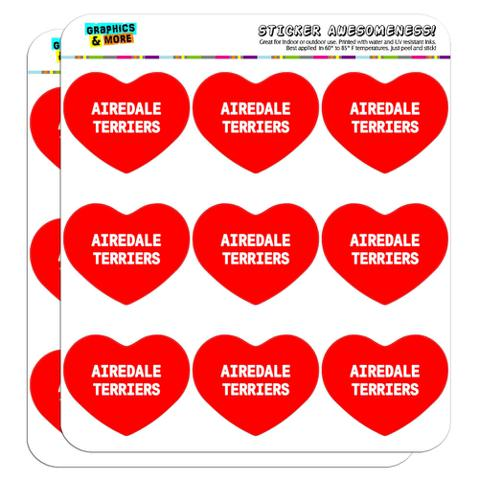 """I Love Heart - Dogs - Airedale Terriers - 2"""" Scrapbooking Crafting Stickers"""