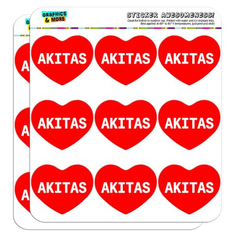 """I Love Heart - Dogs - Akitas - 2"""" Scrapbooking Crafting Stickers"""