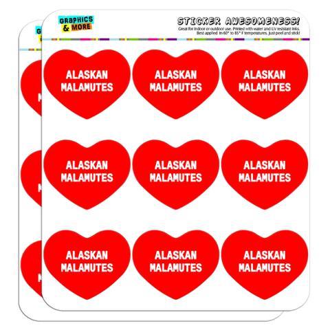 "I Love Heart - Dogs - Alaskan Malamutes - 2"" Scrapbooking Crafting Stickers"