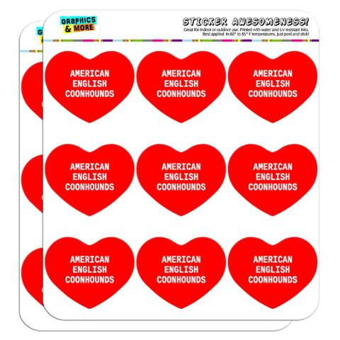 """I Love Heart - Dogs - American English Coonhounds - 2"""" Scrapbooking Crafting Stickers"""