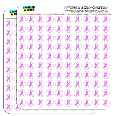 """Breast Cancer Pink Ribbon 1/2"""" (0.5"""") Scrapbooking Crafting Stickers"""