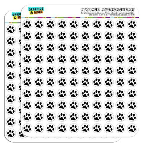 "Paw Print Pet Dog Cat 1/2"" (0.5"") Scrapbooking Crafting Stickers"
