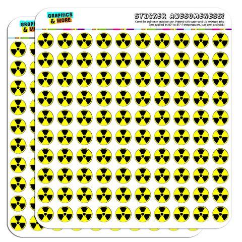 "Radioactive Nuclear Warning Symbol 1/2"" (0.5"") Scrapbooking Crafting Stickers"