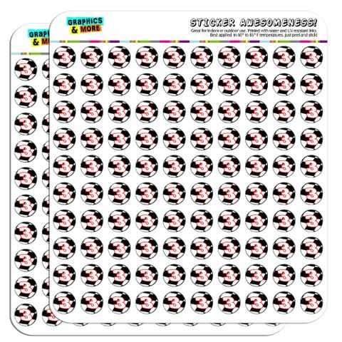 """Number 3 Checkered Flag Racing 1/2"""" (0.5"""") Scrapbooking Crafting Stickers"""
