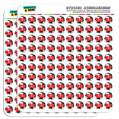 """Number 88 Checkered Flag Racing 1/2"""" (0.5"""") Scrapbooking Crafting Stickers"""