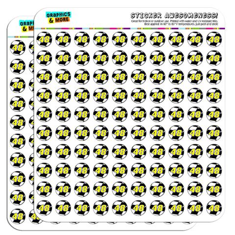 """Number 48 Checkered Flag Racing 1/2"""" (0.5"""") Scrapbooking Crafting Stickers"""