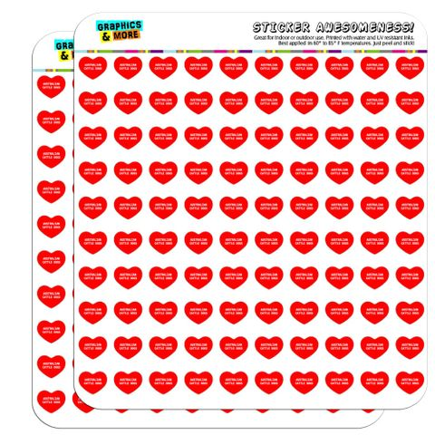 "I Love Heart - Dogs - Australian Cattle Dogs - 1/2"" (0.5"") Scrapbooking Crafting Stickers"
