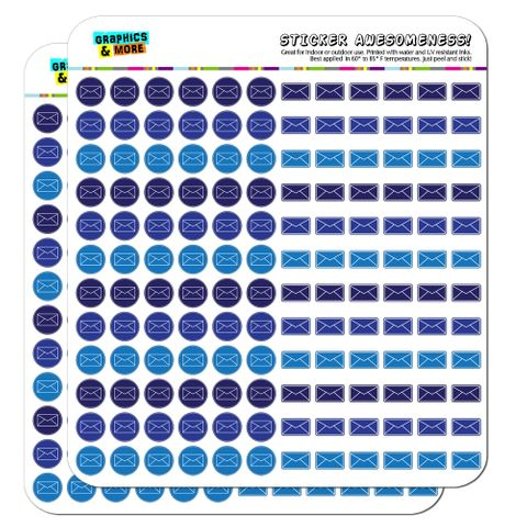 Envelope Mail Shipping Dots Planner Calendar Scrapbooking Crafting Stickers - Blue