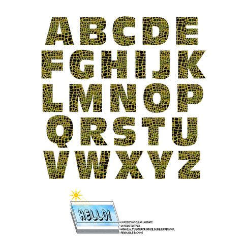 Alphabet Letters Uppercase Alligator Print Animals SLAP-STICKZ(TM) Laminated Wall Stickers