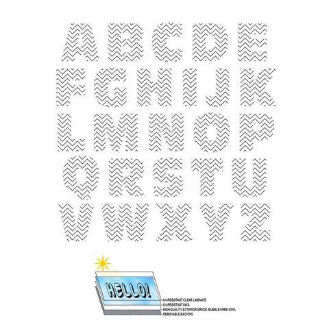 Alphabet Letters Uppercase Chevrons Black White Zig Zag SLAP-STICKZ(TM) Laminated Wall Stickers