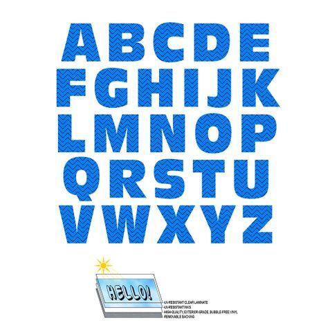 Alphabet Letters Uppercase Chevrons Blue Zig Zag SLAP-STICKZ(TM) Laminated Wall Stickers