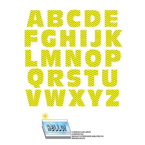 Alphabet Letters Uppercase Chevrons Yellow Zig Zag SLAP-STICKZ(TM) Laminated Wall Stickers