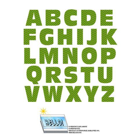 Alphabet Letters Uppercase Chevrons Green Zig Zag SLAP-STICKZ(TM) Laminated Wall Stickers