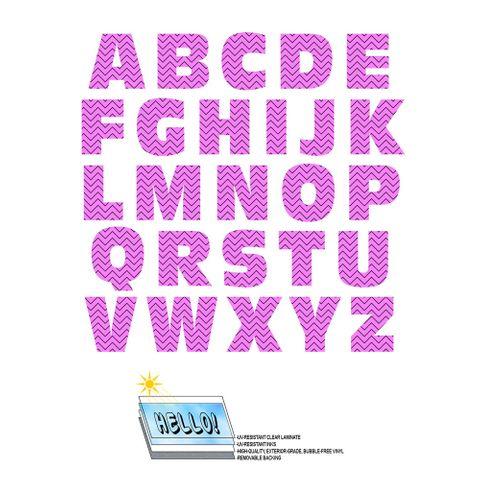 Alphabet Letters Uppercase Chevrons Pink Zig Zag SLAP-STICKZ(TM) Laminated Wall Stickers