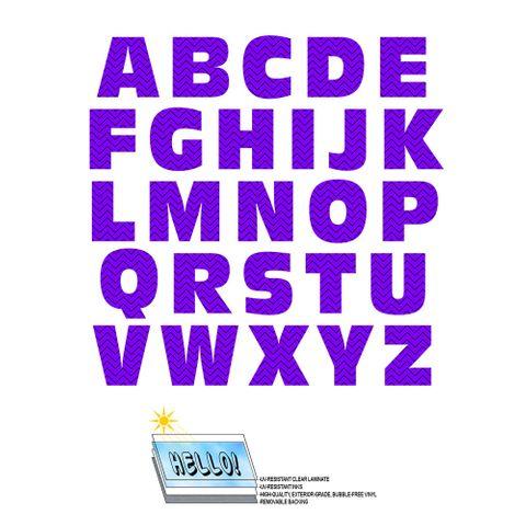 Alphabet Letters Uppercase Chevrons Purple Zig Zag SLAP-STICKZ(TM) Laminated Wall Stickers
