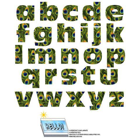 Alphabet Letters Lowercase Peacock Print Animals SLAP-STICKZ(TM) Laminated Wall Stickers