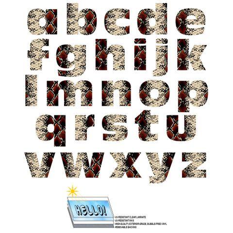 Alphabet Letters Lowercase Snake Print SLAP-STICKZ(TM) Laminated Wall Stickers