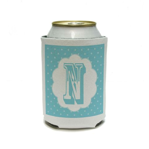 Letter N Initial Flower Blue Can Cooler Drink Insulator Beverage Insulated Holder