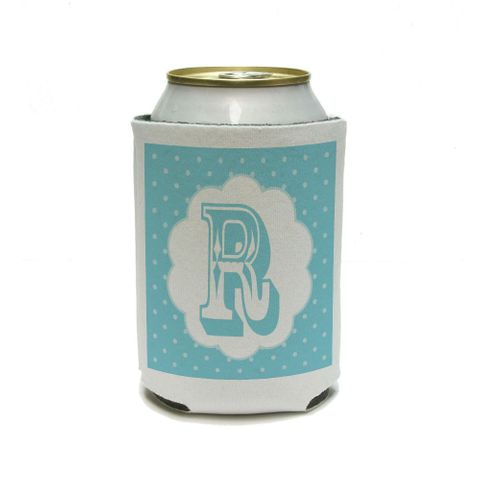 Letter R Initial Flower Blue Can Cooler Drink Insulator Beverage Insulated Holder