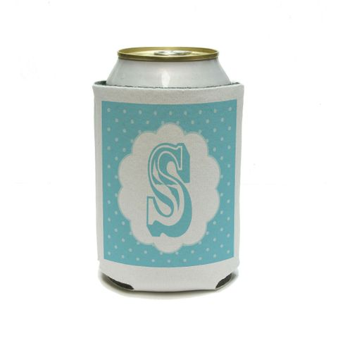 Letter S Initial Flower Blue Can Cooler Drink Insulator Beverage Insulated Holder