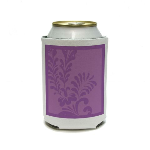 Floral Motif Purple Can Cooler Drink Insulator Beverage Insulated Holder