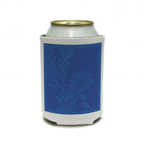 Floral Motif Blue Can Cooler Drink Insulator Beverage Insulated Holder