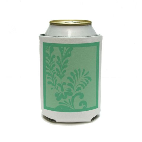 Floral Motif Mint Green Can Cooler Drink Insulator Beverage Insulated Holder