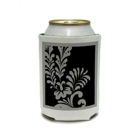 Floral Motif Black Can Cooler Drink Insulator Beverage Insulated Holder