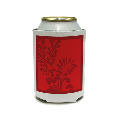 Floral Motif Red Can Cooler Drink Insulator Beverage Insulated Holder