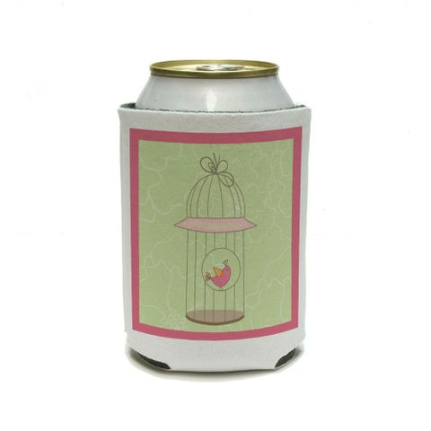 Happy Bird in Cage Can Cooler Drink Insulator Beverage Insulated Holder