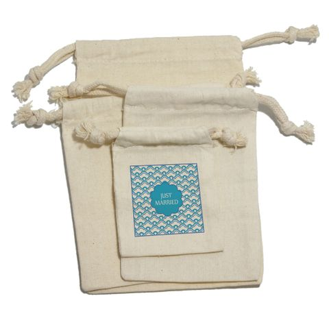 Just Married Blue Scallops Gift Bag