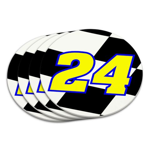Number 24 Checkered Flag Racing Coaster Set