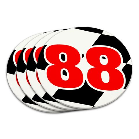 Number 88 Checkered Flag Racing Coaster Set