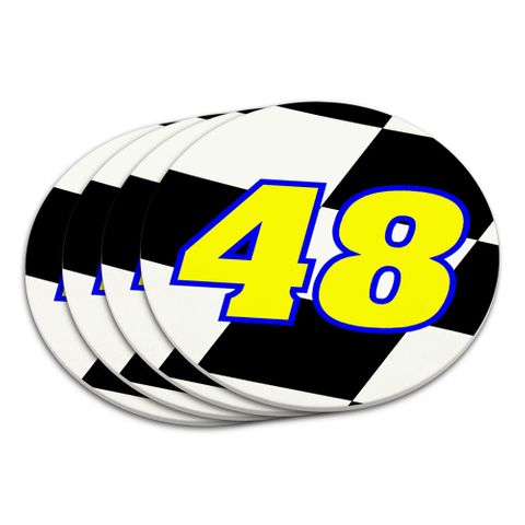 Number 48 Checkered Flag Racing Coaster Set