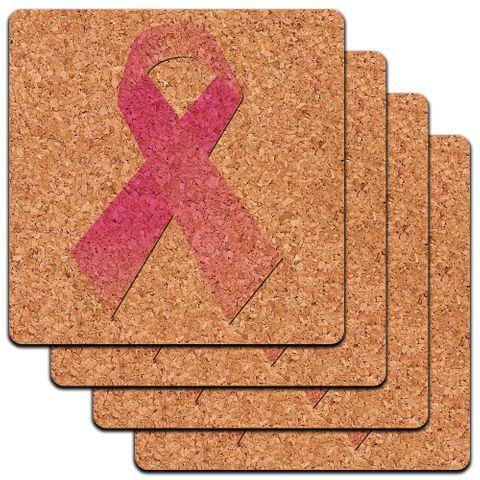 Breast Cancer Pink Ribbon Low Profile Cork Coaster Set