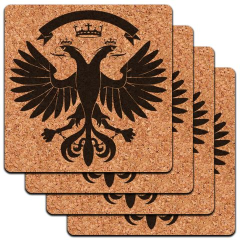 Double Eagle Low Profile Cork Coaster Set