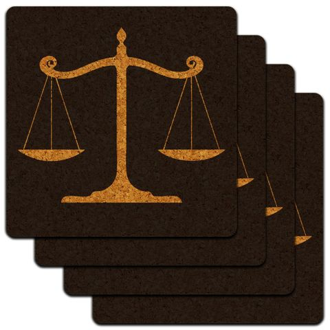 Balanced Scales of Justice Symbol Legal Lawyer Gold Low Profile Cork Coaster Set