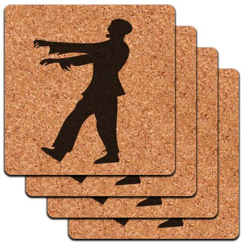 Zombie Walking Black on White Low Profile Cork Coaster Set