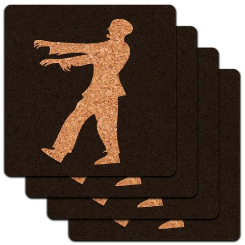 Zombie Walking White on Black Low Profile Cork Coaster Set