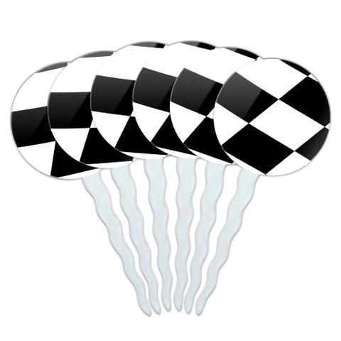 Checkered Flag Racing Cupcake Picks Toppers - Set of 6