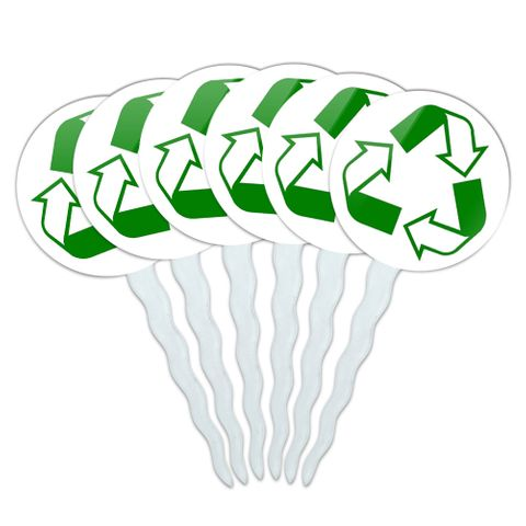 Recycle Reuse Conservation Hybrid Cupcake Picks Toppers - Set of 6