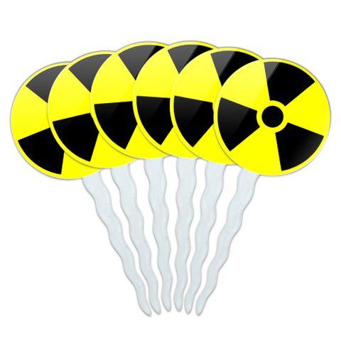 Radioactive Nuclear Warning Symbol Cupcake Picks Toppers - Set of 6