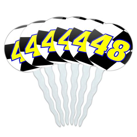 Number 48 Checkered Flag Racing Cupcake Picks Toppers - Set of 6