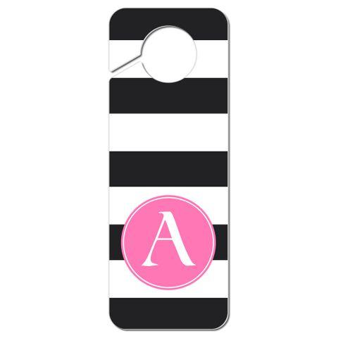 Pink Letter Black White Stripes Monogram Do Not Disturb Plastic Door Knob Hanger Warning Room Sign - Letter A