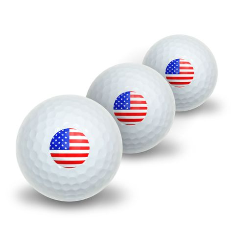 American USA Flag - Patriotic Novelty Golf Balls 3 Pack