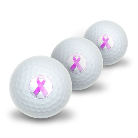 Breast Cancer Pink Ribbon Novelty Golf Balls 3 Pack