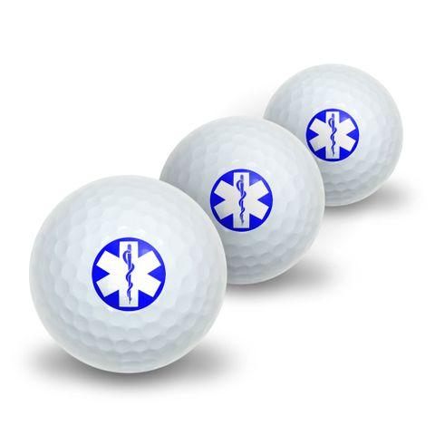 Star of Life - Medical Health EMT RN MD Novelty Golf Balls 3 Pack